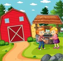 famille heureuse dans la scène de la ferme vecteur