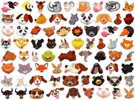 ensemble de différents animaux de dessin animé mignon vecteur