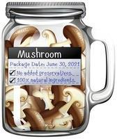 champignon conservé dans un bocal en verre