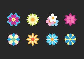 Icônes plates de fleurs vecteur