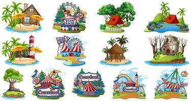 ensemble de bungalows, plages insulaires et parcs d'attractions