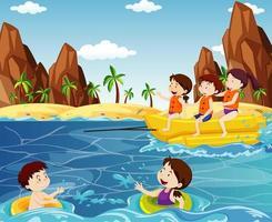 les gens s'amusent sur la plage vecteur