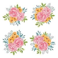 collection de beau bouquet de fleurs roses aquarelle