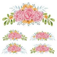ensemble de bouquet de fleurs rose peint à la main aquarelle