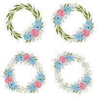 couronnes de fleurs roses aquarelle en bleu et rose vecteur