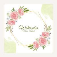 cadre floral oeillet rustique dans un style aquarelle rose vecteur