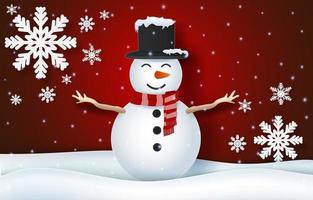 fond de bonhomme de neige pour la célébration de noël vecteur