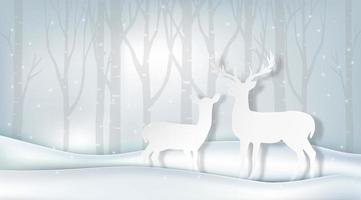 Cerf d'hiver de style papier découpé dans une forêt enneigée vecteur