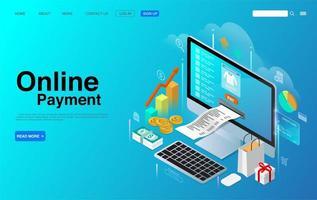 paiement en ligne avec concept isométrique de bureau d'ordinateur