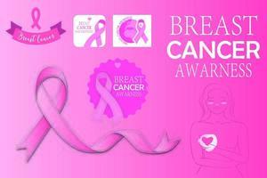 ensemble de graphiques du mois d'octobre de la sensibilisation au cancer du sein