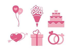 jeu d'icônes de mariage vecteur