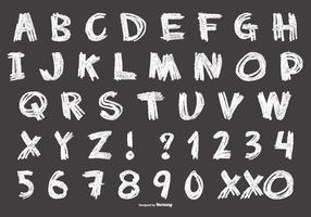 Alphabet de style craie désordonné vecteur