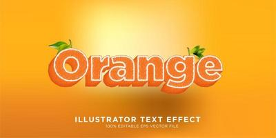 effet de texte de fruits orange vecteur