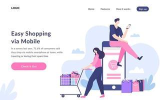 achats faciles via la page de destination mobile