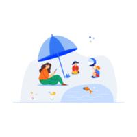 pique-nique en famille heureuse avec parapluie vecteur