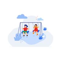 enfants jouant sur une balançoire