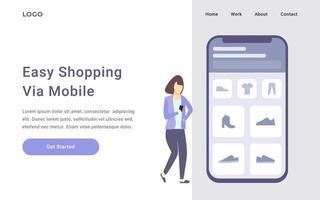 page de destination de la boutique mobile