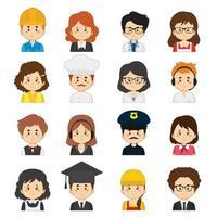 ensemble de 16 personnages de profession de dessin animé vecteur