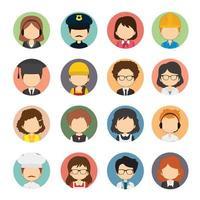 ensemble de 16 icônes de caractère professionnel plat rond vecteur