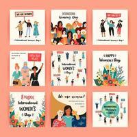 cartes de la journée internationale des femmes vecteur