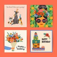 ensemble de modèles de carte de voeux joyeux anniversaire vecteur