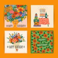 ensemble de modèles de carte de voeux joyeux anniversaire