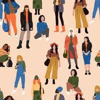 modèle sans couture avec diverses femmes vecteur
