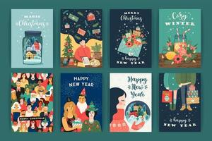 collection de cartes de voeux de noël et du nouvel an