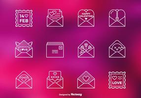 Valentine, amour, lettre, vecteur, ligne, icônes vecteur
