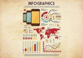Vecteur de note d'infographie de style vintage