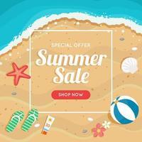 bannière de vente d'été avec plage et mer vecteur