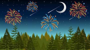 forêt avec scène de célébration de feux d'artifice