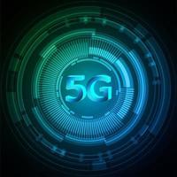 Fond de technologie future du cyber-circuit 5g bleu