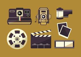 Boîte de film et jeu de photographies vecteur gratuit