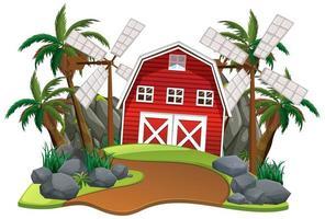 scène avec grange rouge et moulins à vent
