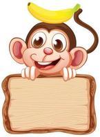 modèle de carte avec singe mignon