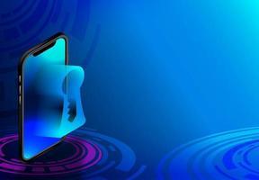 téléphone intelligent de téléphone isométrique avec trou de serrure vecteur