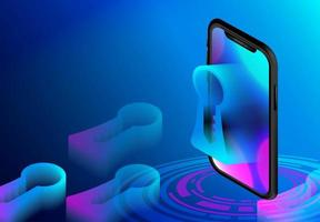 smartphone téléphone isométrique avec trou de serrure vecteur