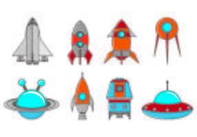 Ensemble d'icônes Starship vecteur