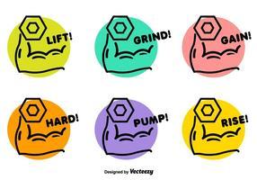 Dumbell levage des badges vectoriels
