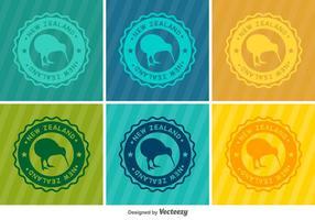 Badges de vecteur d'oiseaux Kiwi