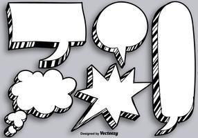Bulles de discours vierges dessinées à main vectorielles vecteur