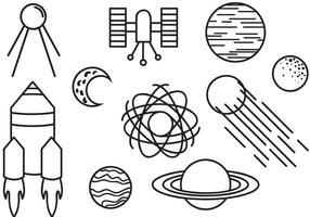 Vecteurs spatiaux Doodle gratuits vecteur