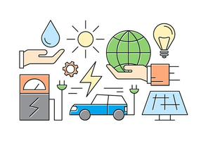 Icônes libres d'énergie verte vecteur