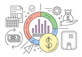 Ensemble d'icônes d'affaires et de finance vecteur