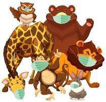personnages de dessins animés animaux sauvages portant un masque vecteur