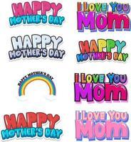 ensemble de signes de bonne fête des mères vecteur