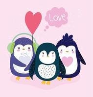 pingouins beaux oiseaux antarctiques vecteur
