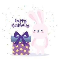 joyeux anniversaire lapin et coffret cadeau surprise vecteur