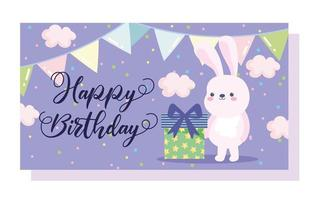 joyeux anniversaire petit coffret cadeau lapin vecteur